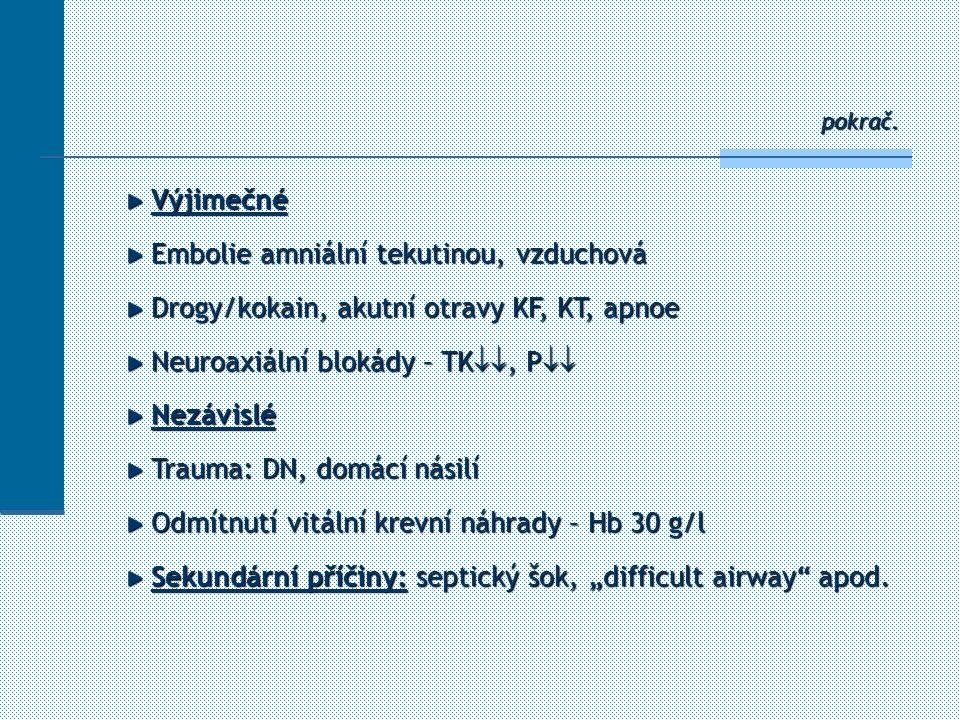 pokrač. Výjimečné Výjimečné Embolie amniální tekutinou, vzduchová Embolie amniální tekutinou, vzduchová Drogy/kokain, akutní otravy KF, KT, apnoe Drog