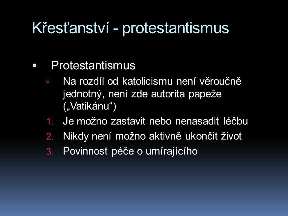"""Křesťanství - protestantismus  Protestantismus  Na rozdíl od katolicismu není věroučně jednotný, není zde autorita papeže (""""Vatikánu ) 1."""