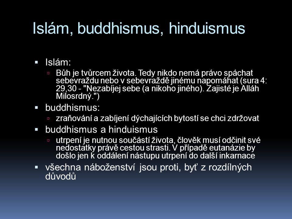 Islám, buddhismus, hinduismus  Islám:  Bůh je tvůrcem života. Tedy nikdo nemá právo spáchat sebevraždu nebo v sebevraždě jinému napomáhat (sura 4: 2