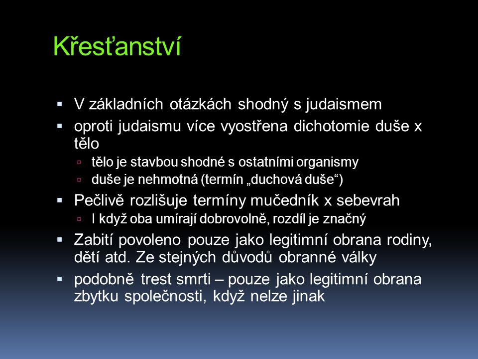 Křesťanství  V základních otázkách shodný s judaismem  oproti judaismu více vyostřena dichotomie duše x tělo  tělo je stavbou shodné s ostatními or