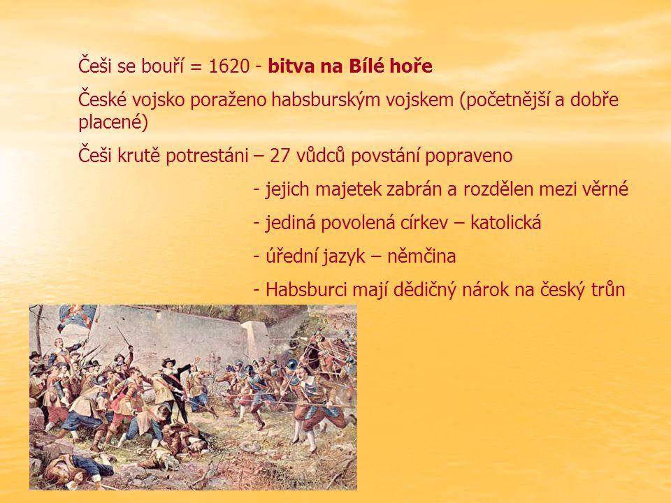 Češi se bouří = 1620 - bitva na Bílé hoře České vojsko poraženo habsburským vojskem (početnější a dobře placené) Češi krutě potrestáni – 27 vůdců povs