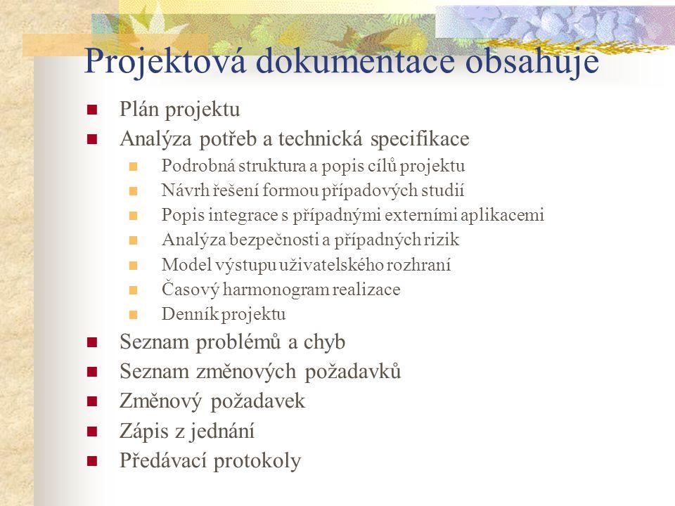 Projektová dokumentace obsahuje Plán projektu Analýza potřeb a technická specifikace Podrobná struktura a popis cílů projektu Návrh řešení formou příp