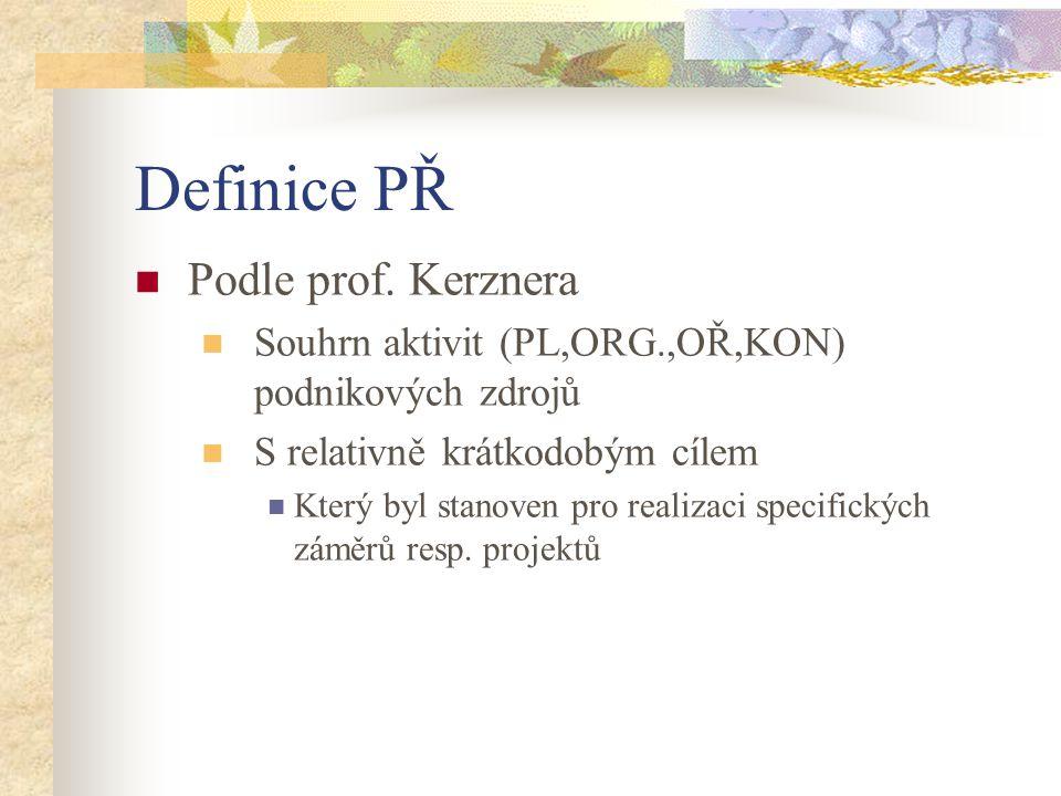 Definice PŘ Podle prof. Kerznera Souhrn aktivit (PL,ORG.,OŘ,KON) podnikových zdrojů S relativně krátkodobým cílem Který byl stanoven pro realizaci spe