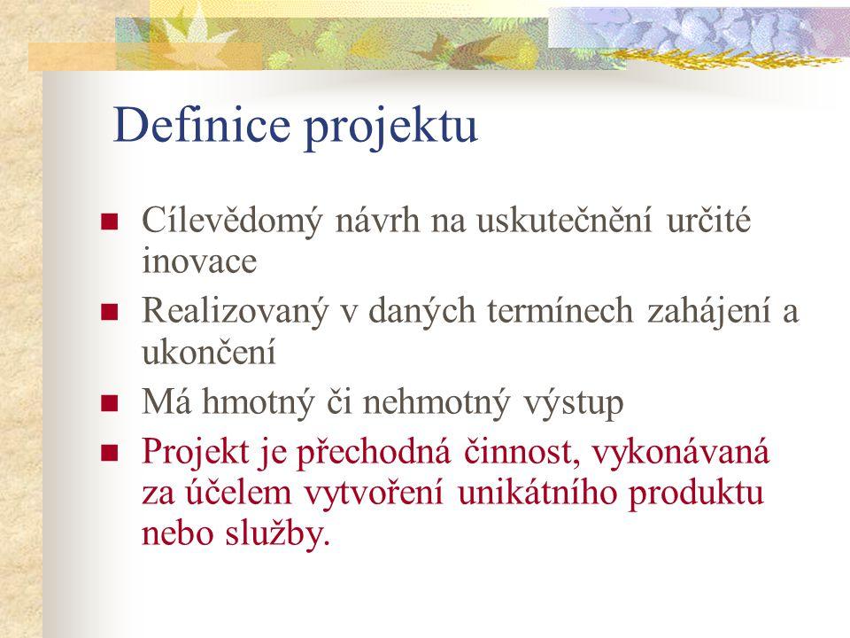 Definice projektu Cílevědomý návrh na uskutečnění určité inovace Realizovaný v daných termínech zahájení a ukončení Má hmotný či nehmotný výstup Proje