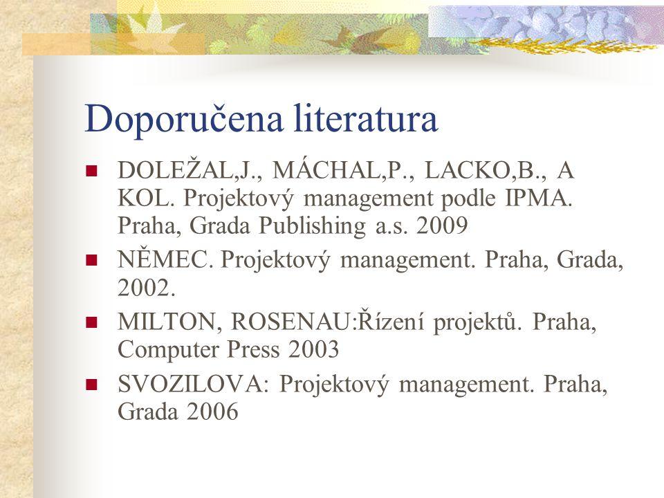 Doporučena literatura DOLEŽAL,J., MÁCHAL,P., LACKO,B., A KOL. Projektový management podle IPMA. Praha, Grada Publishing a.s. 2009 NĚMEC. Projektový ma