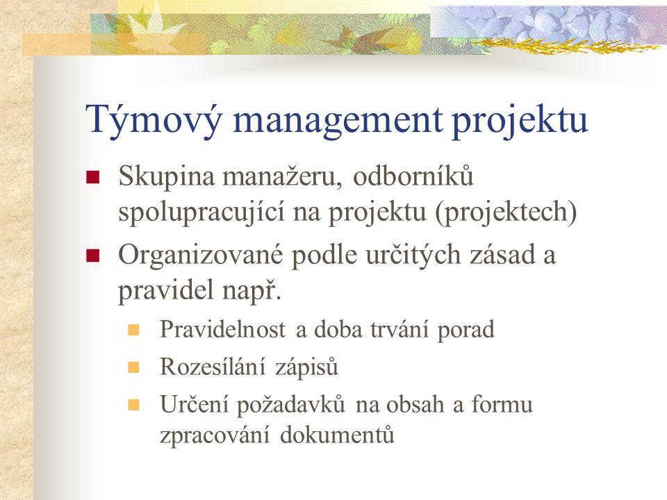 Týmový management projektu Skupina manažeru, odborníků spolupracující na projektu (projektech) Organizované podle určitých zásad a pravidel např. Prav