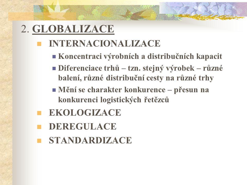 2. GLOBALIZACE INTERNACIONALIZACE Koncentraci výrobních a distribučních kapacit Diferenciace trhů – tzn. stejný výrobek – různé balení, různé distribu
