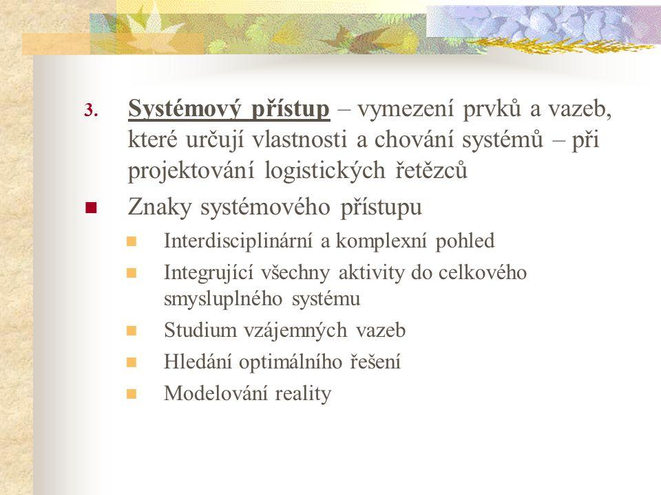 3. Systémový přístup – vymezení prvků a vazeb, které určují vlastnosti a chování systémů – při projektování logistických řetězců Znaky systémového pří