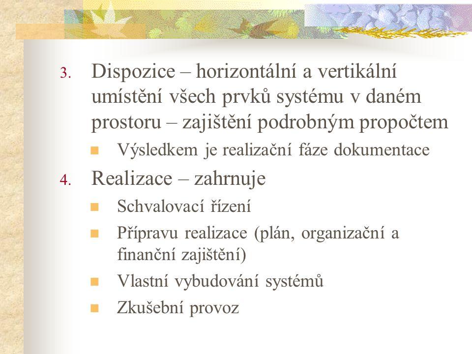 3. Dispozice – horizontální a vertikální umístění všech prvků systému v daném prostoru – zajištění podrobným propočtem Výsledkem je realizační fáze do