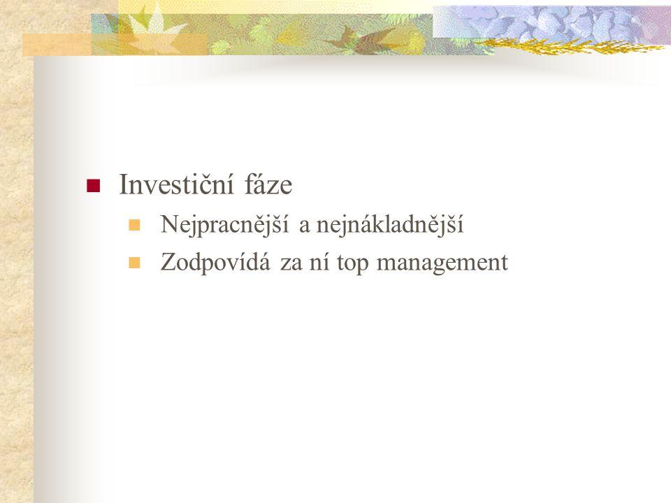 Investiční fáze Nejpracnější a nejnákladnější Zodpovídá za ní top management