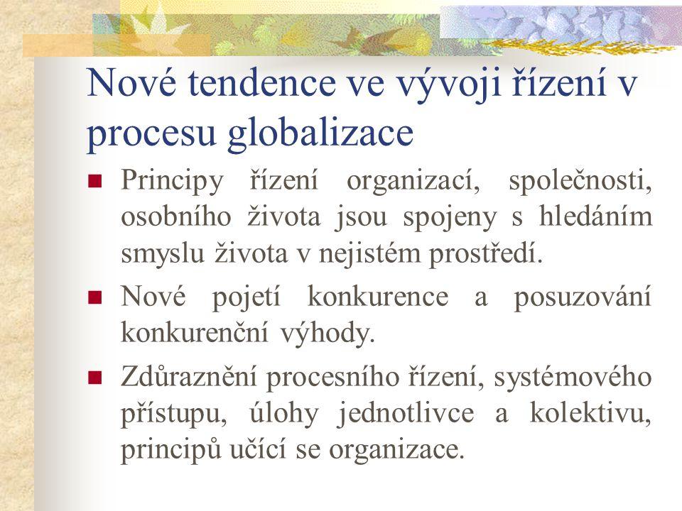 Nové tendence ve vývoji řízení v procesu globalizace Principy řízení organizací, společnosti, osobního života jsou spojeny s hledáním smyslu života v