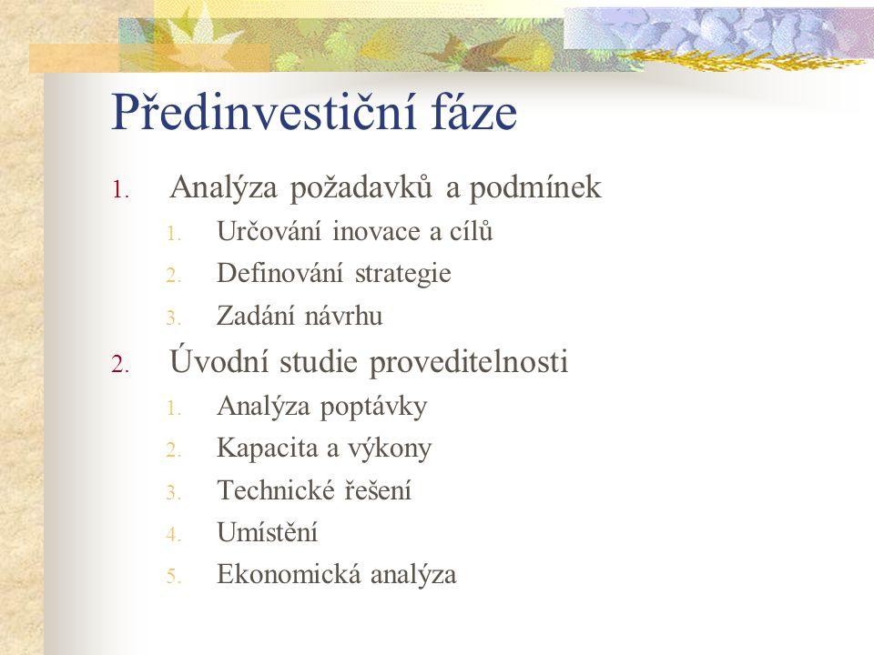 Předinvestiční fáze 1. Analýza požadavků a podmínek 1. Určování inovace a cílů 2. Definování strategie 3. Zadání návrhu 2. Úvodní studie proveditelnos