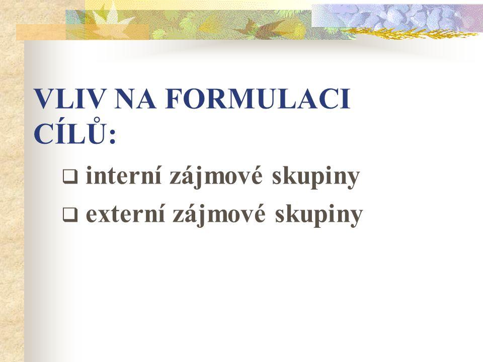 VLIV NA FORMULACI CÍLŮ:  interní zájmové skupiny  externí zájmové skupiny