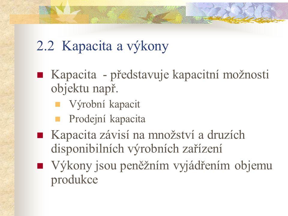 2.2 Kapacita a výkony Kapacita - představuje kapacitní možnosti objektu např. Výrobní kapacit Prodejní kapacita Kapacita závisí na množství a druzích