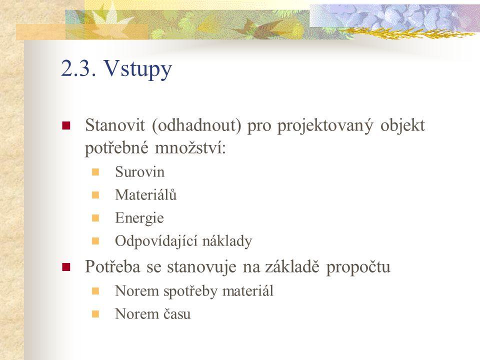2.3. Vstupy Stanovit (odhadnout) pro projektovaný objekt potřebné množství: Surovin Materiálů Energie Odpovídající náklady Potřeba se stanovuje na zák
