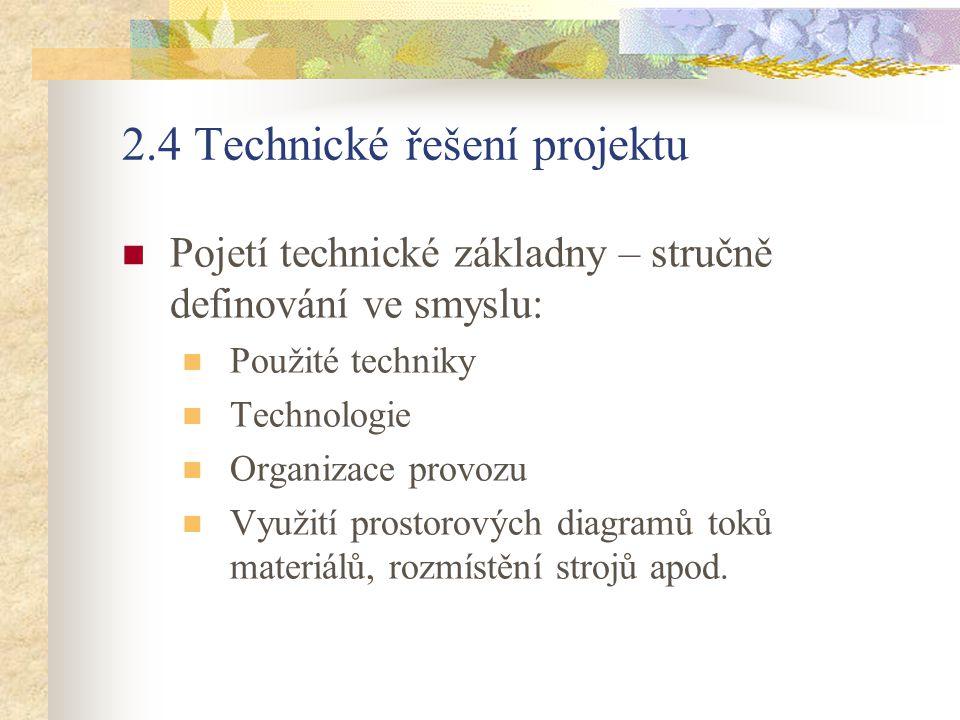 2.4 Technické řešení projektu Pojetí technické základny – stručně definování ve smyslu: Použité techniky Technologie Organizace provozu Využití prosto