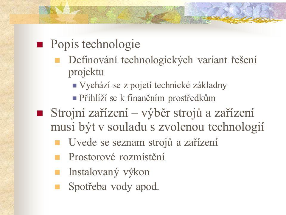 Popis technologie Definování technologických variant řešení projektu Vychází se z pojetí technické základny Přihlíží se k finančním prostředkům Strojn