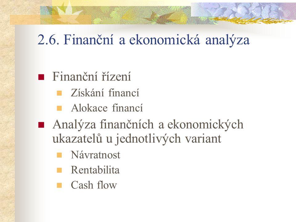 2.6. Finanční a ekonomická analýza Finanční řízení Získání financí Alokace financí Analýza finančních a ekonomických ukazatelů u jednotlivých variant
