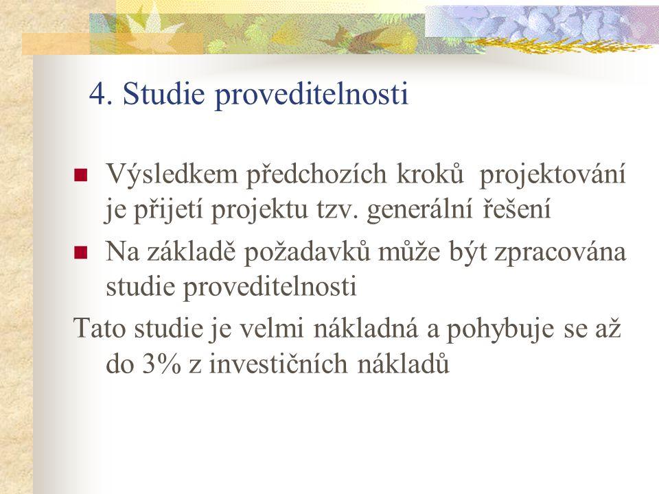 4. Studie proveditelnosti Výsledkem předchozích kroků projektování je přijetí projektu tzv. generální řešení Na základě požadavků může být zpracována