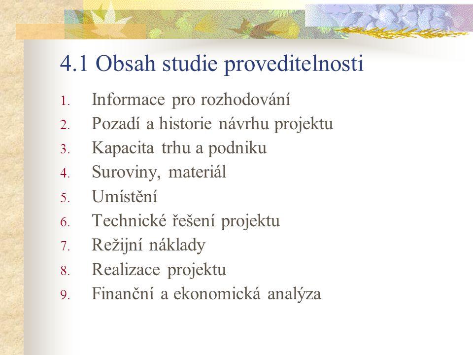 4.1 Obsah studie proveditelnosti 1. Informace pro rozhodování 2. Pozadí a historie návrhu projektu 3. Kapacita trhu a podniku 4. Suroviny, materiál 5.