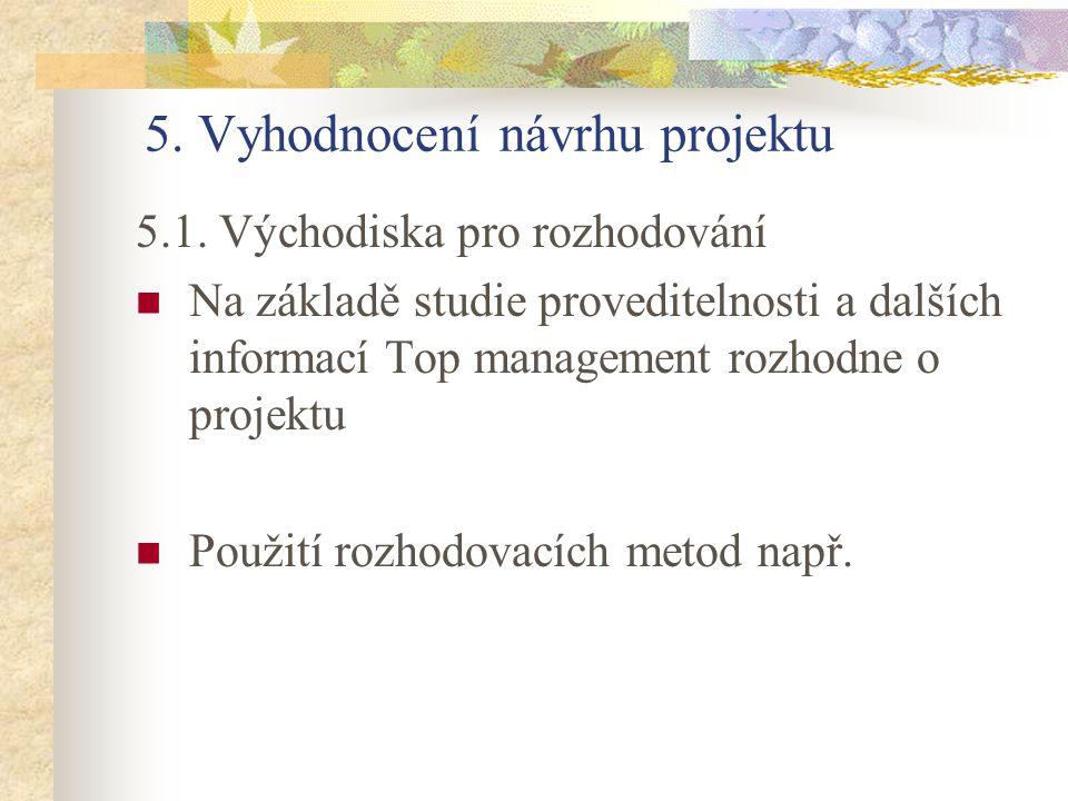 5. Vyhodnocení návrhu projektu 5.1. Východiska pro rozhodování Na základě studie proveditelnosti a dalších informací Top management rozhodne o projekt