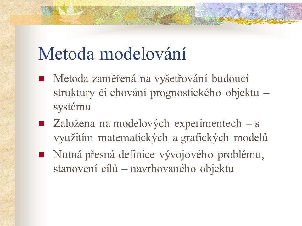 Metoda modelování Metoda zaměřená na vyšetřování budoucí struktury či chování prognostického objektu – systému Založena na modelových experimentech –
