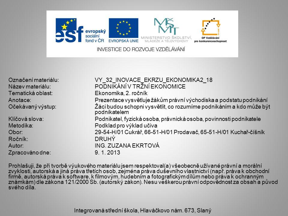 Označení materiálu: VY_32_INOVACE_EKRZU_EKONOMIKA2_18 Název materiálu:PODNIKÁNÍ V TRŽNÍ EKONOMICE Tematická oblast:Ekonomika, 2.