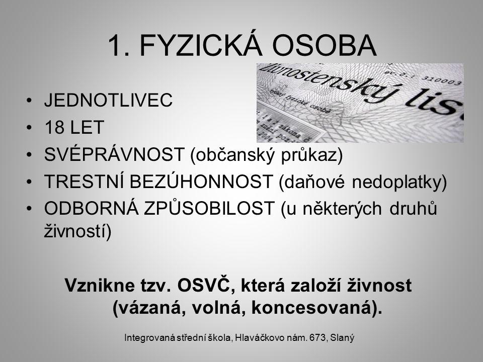 1. FYZICKÁ OSOBA JEDNOTLIVEC 18 LET SVÉPRÁVNOST (občanský průkaz) TRESTNÍ BEZÚHONNOST (daňové nedoplatky) ODBORNÁ ZPŮSOBILOST (u některých druhů živno