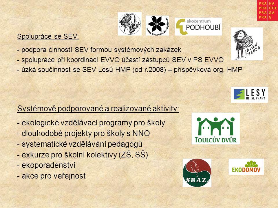 Systémově podporované a realizované aktivity: - ekologické vzdělávací programy pro školy - dlouhodobé projekty pro školy s NNO - systematické vzdělávání pedagogů - exkurze pro školní kolektivy (ZŠ, SŠ) - ekoporadenství - akce pro veřejnost Spolupráce se SEV: - podpora činností SEV formou systémových zakázek - spolupráce při koordinaci EVVO účastí zástupců SEV v PS EVVO - úzká součinnost se SEV Lesů HMP (od r.2008) – příspěvková org.