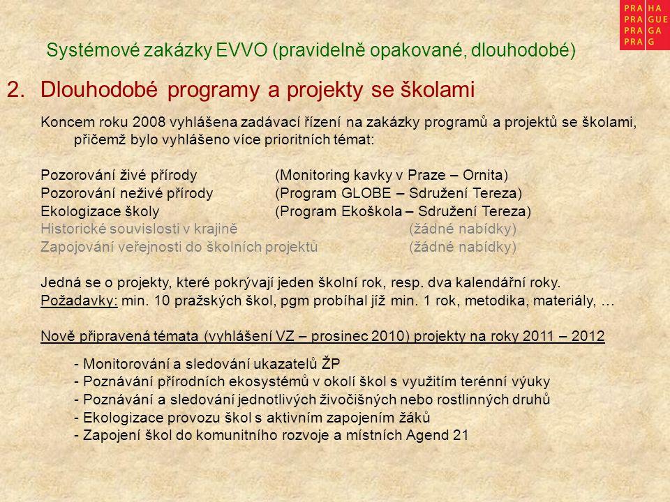 Systémové zakázky EVVO (pravidelně opakované, dlouhodobé) 2.Dlouhodobé programy a projekty se školami Koncem roku 2008 vyhlášena zadávací řízení na za