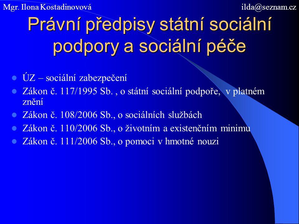Právní předpisy státní sociální podpory a sociální péče ÚZ – sociální zabezpečení Zákon č. 117/1995 Sb., o státní sociální podpoře, v platném znění Zá