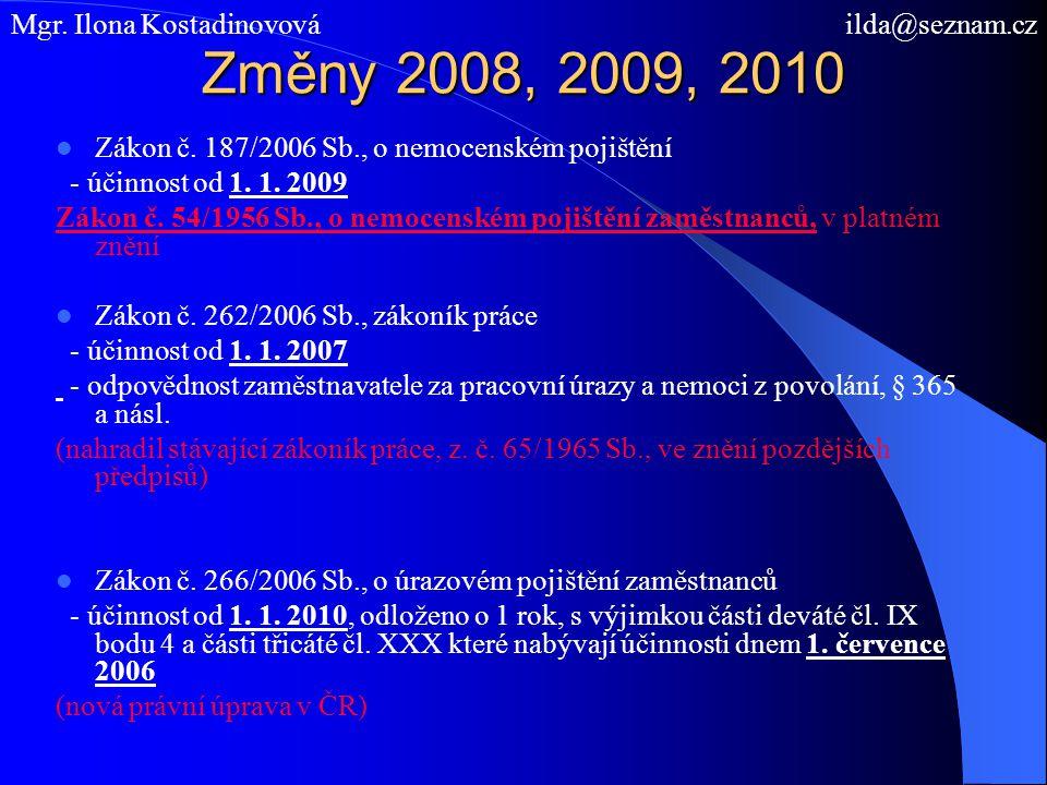 Změny 2008, 2009, 2010 Zákon č. 187/2006 Sb., o nemocenském pojištění - účinnost od 1. 1. 2009 Zákon č. 54/1956 Sb., o nemocenském pojištění zaměstnan