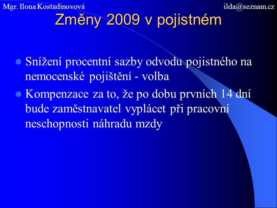 Změny 2009 v pojistném Snížení procentní sazby odvodu pojistného na nemocenské pojištění - volba Kompenzace za to, že po dobu prvních 14 dní bude zamě