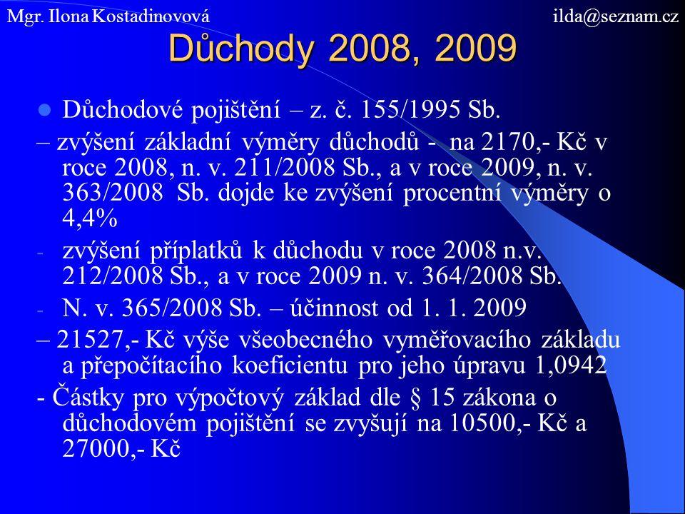 Důchody 2008, 2009 Důchodové pojištění – z. č. 155/1995 Sb. – zvýšení základní výměry důchodů - na 2170,- Kč v roce 2008, n. v. 211/2008 Sb., a v roce