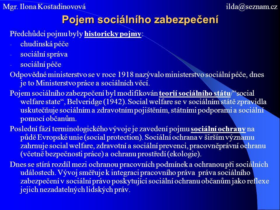 Pojem sociálního zabezpečení Předchůdci pojmu byly historicky pojmy: - chudinská péče - sociální správa - sociální péče Odpovědné ministerstvo se v ro