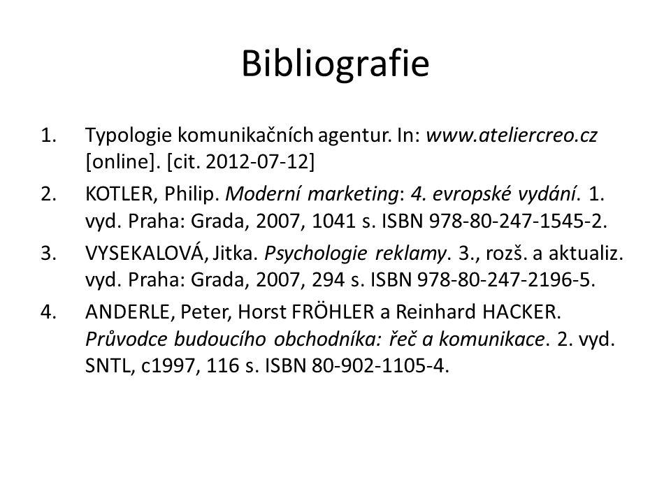 Bibliografie 1.Typologie komunikačních agentur. In: www.ateliercreo.cz [online]. [cit. 2012-07-12] 2.KOTLER, Philip. Moderní marketing: 4. evropské vy