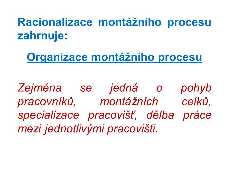Racionalizace montážního procesu zahrnuje: Organizace montážního procesu Zejména se jedná o pohyb pracovníků, montážních celků, specializace pracovišť, dělba práce mezi jednotlivými pracovišti.
