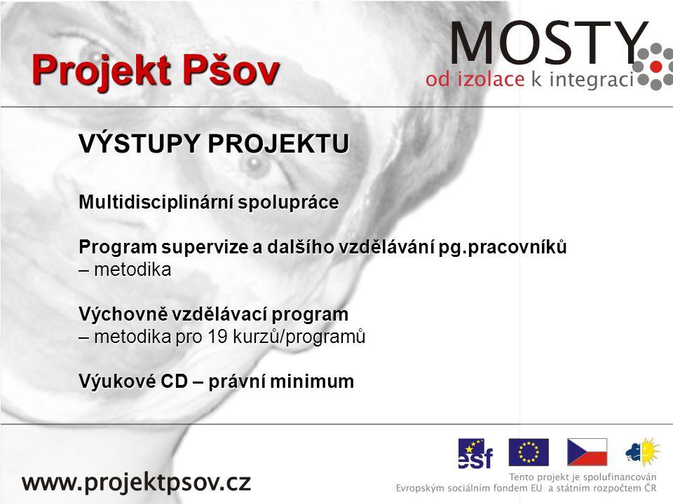 VÝSTUPY PROJEKTU Multidisciplinární spolupráce Program supervize a dalšího vzdělávání pg.pracovníků – metodika Výchovně vzdělávací program – metodika pro 19 kurzů/programů Výukové CD – právní minimum Projekt Pšov