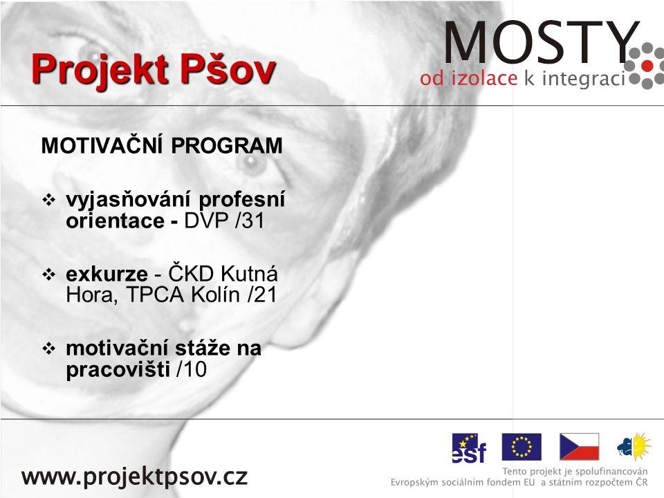 MOTIVAČNÍ PROGRAM   vyjasňování profesní orientace - DVP /31   exkurze - ČKD Kutná Hora, TPCA Kolín /21   motivační stáže na pracovišti /10 Projekt Pšov