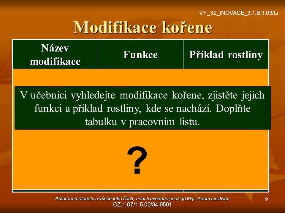 Autorem materiálu a všech jeho částí, není-li uvedeno jinak, je Mgr. Adam Lisztwan CZ.1.07/1.5.00/34.0501 9 Modifikace kořene Název modifikace Funkce