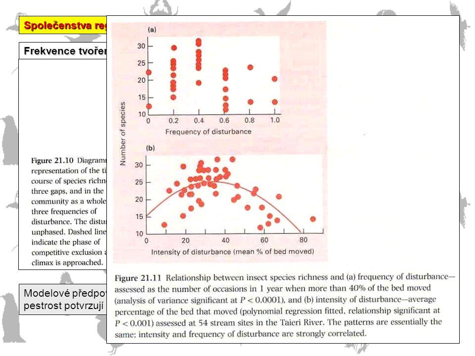 """Společenstva regulovaná DOMINANCÍ Frekvence tvoření """"mezer"""" a druhová bohatost Modelové předpovědi """"nejlepšího"""" výsledku střední frekvence disturbancí"""