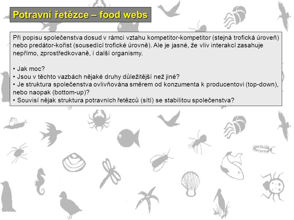 Potravní řetězce – food webs Při popisu společenstva dosud v rámci vztahu kompetitor-kompetitor (stejná trofická úroveň) nebo predátor-kořist (sousedí
