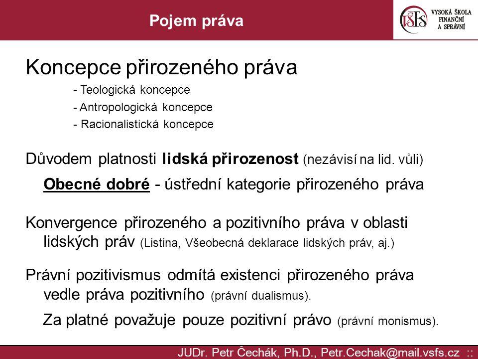JUD r. Petr Čechák, Ph.D., Petr.Cechak@mail.vsfs.cz :: Pojem práva Koncepce přirozeného práva - Teologická koncepce - Antropologická koncepce - Racion