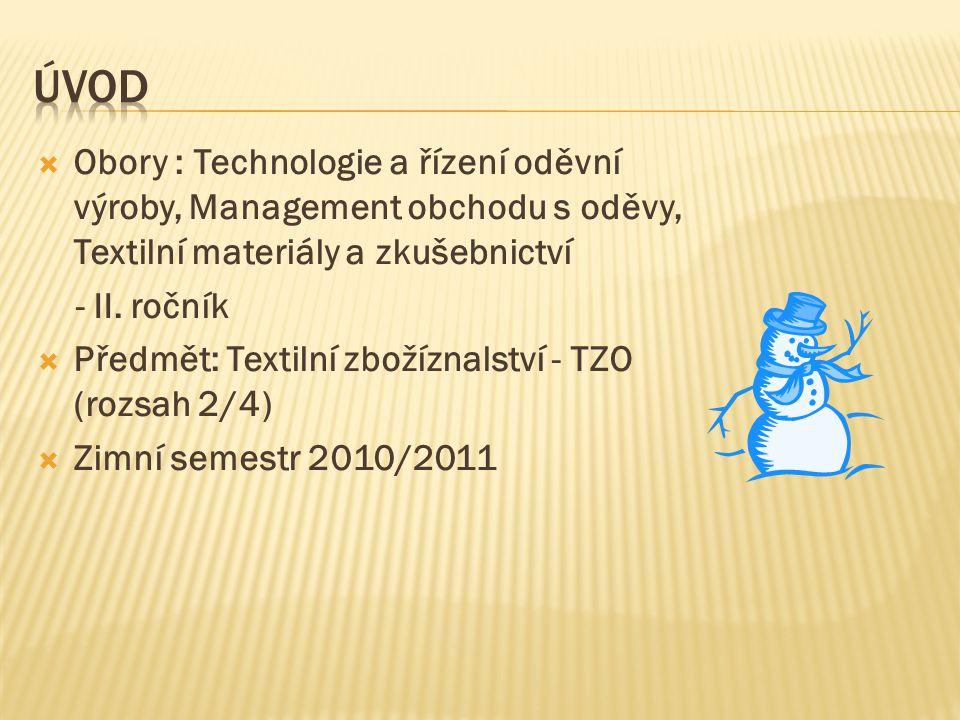  Obory : Technologie a řízení oděvní výroby, Management obchodu s oděvy, Textilní materiály a zkušebnictví - II. ročník  Předmět: Textilní zbožíznal