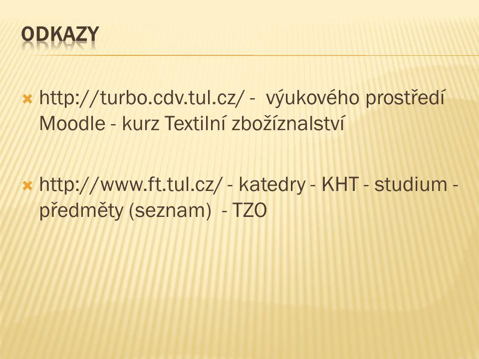  http://turbo.cdv.tul.cz/ - výukového prostředí Moodle - kurz Textilní zbožíznalství  http://www.ft.tul.cz/ - katedry - KHT - studium - předměty (se