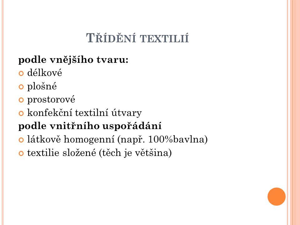 T ŘÍDĚNÍ TEXTILIÍ podle vnějšího tvaru: délkové plošné prostorové konfekční textilní útvary podle vnitřního uspořádání látkově homogenní (např. 100%ba