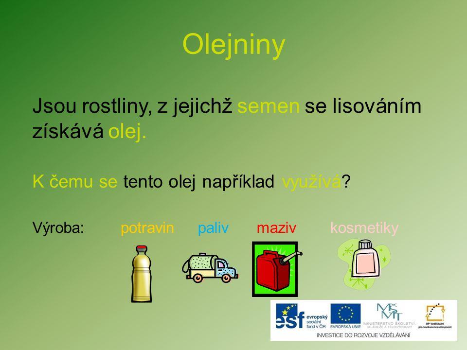 Procvičení Na co se používá olej získaný z olejnin.