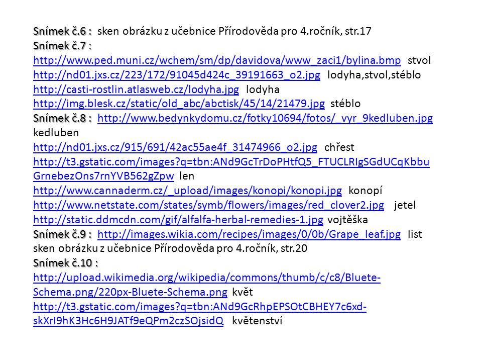 Snímek č.6 : Snímek č.6 : sken obrázku z učebnice Přírodověda pro 4.ročník, str.17 Snímek č.7 : Snímek č.7 : http://www.ped.muni.cz/wchem/sm/dp/davido