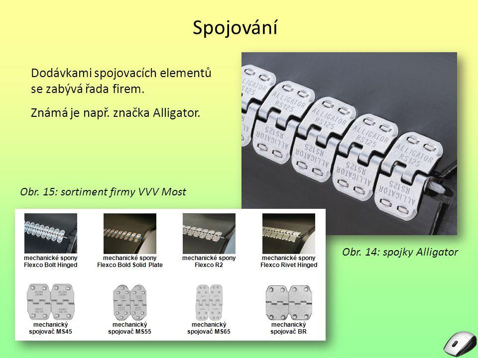 Spojování Dodávkami spojovacích elementů se zabývá řada firem. Známá je např. značka Alligator. Obr. 15: sortiment firmy VVV Most Obr. 14: spojky Alli