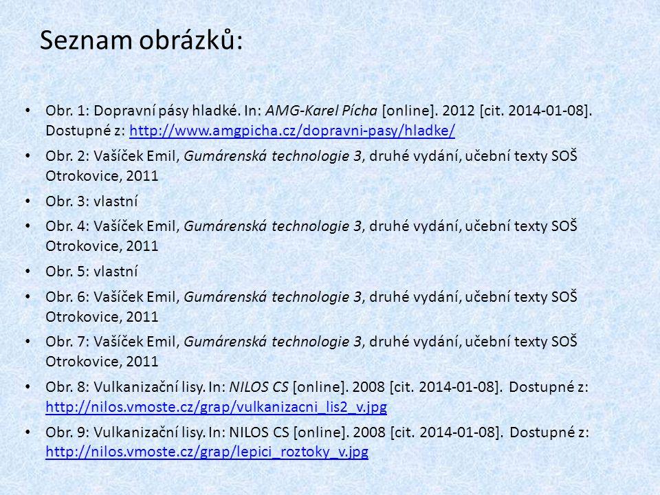 Seznam obrázků: Obr. 1: Dopravní pásy hladké. In: AMG-Karel Pícha [online]. 2012 [cit. 2014-01-08]. Dostupné z: http://www.amgpicha.cz/dopravni-pasy/h
